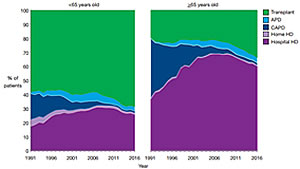 Prevalent patients every year between 1960-2014