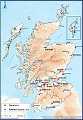 Map of dialysis units in Scotland 31 December 2014